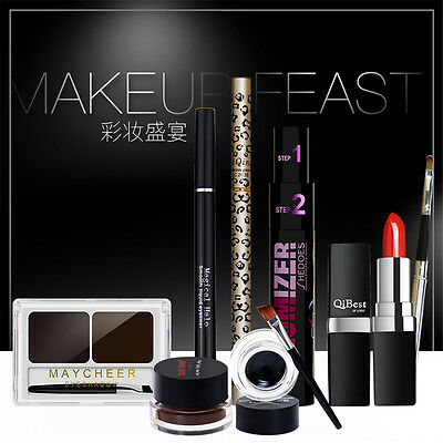 Qibest 7in1 Eyeliner Eyebrow Powder Mascara Lipstick Beauty Makeup Cosmetic Sets