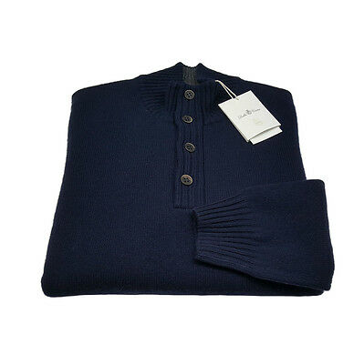 DELLA CIANA jersey neck with button blue internal neck grey