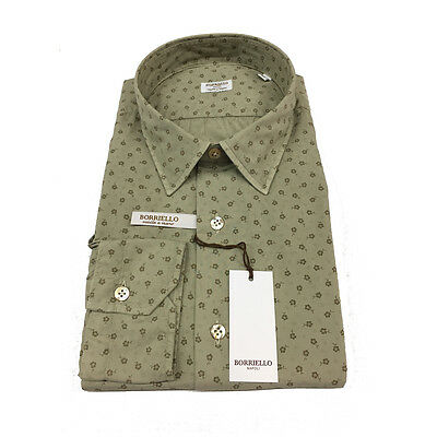 BORRIELLO NAPOLI men's shirts fantasy beige 100% cotone MADE IN ITALY