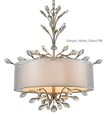 New French Iron & Crystal Chandelier 4-Light Drum Pendant Tuscan Antique Silver