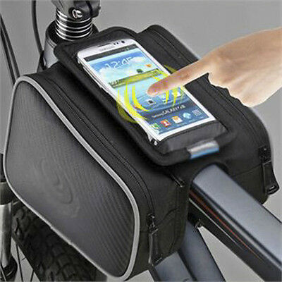 Cycling Bike Phone Bag Double Pouch Holder Top Frame Front Pannier Saddle Tube