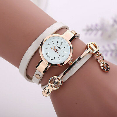 NEW Fashion Women Girl Leather Stainless Steel Gold Bracelet Quartz Wrist Watch