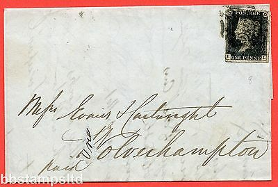 "SG. 2 c. A1 (2) h. AS46. "" PL "". 1d black. Plate 8. A good used example on cover"
