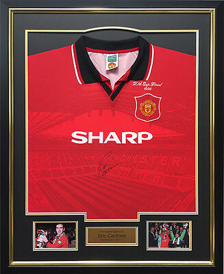 Eric Cantona Signed 1996 FA Cup Final Shirt Display Manchester United