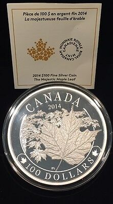 2014 Majestic Maple Leaves Proof $100 Silver 10oz Coin - .9999 Fine
