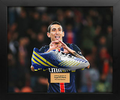 Angel Di Maria PSG Signed Boot Display in Dome Frame AFTAL