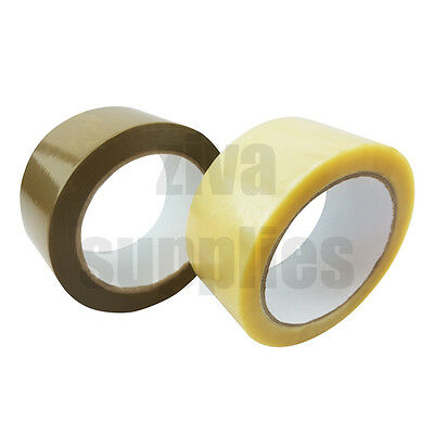 VINYL Tape KD (Clear & Brown) 48mm x 66M Rolls Thick Low Noise Packing Parcels