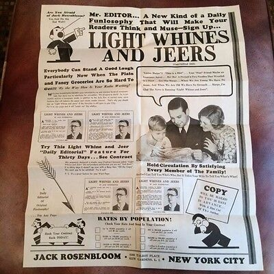 """1930's Jack Rosenbloom's """"Light Whines and Jeers"""" Promotional Poster & Letter"""