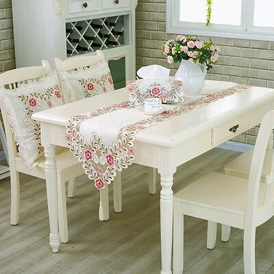 Table Runners Embroidered Hollowed Table Cloth Floral Lace Decoration Fabric