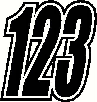 "Race Numbers 6"" & 5""  x3 Vinyl Stickers/Decals Motorbike Motorcross"