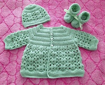 Green Crochet Matinee Cardigan, Beanie and Booties Set, 0 to 3 month baby - new