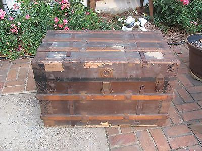 Antique Flat Top Steamer Wood Trunk #1662