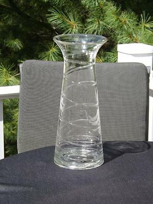 Blenko Clear Glass Spiral Vase Handblown 11 1/2""