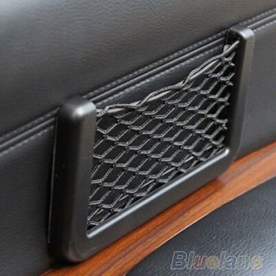 Car Seat Side Back Storage Net Bag Phone Holder Pocket Organizer Black Bluelans