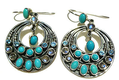 "2"" 377/1000 Large Nicky Butler Sterling Silver Turquoise Moonstone Earrings"