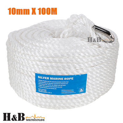 10mm x 100M Anchor Marine Rope Boat Mooring Line Stainless Steel Thimble C0073
