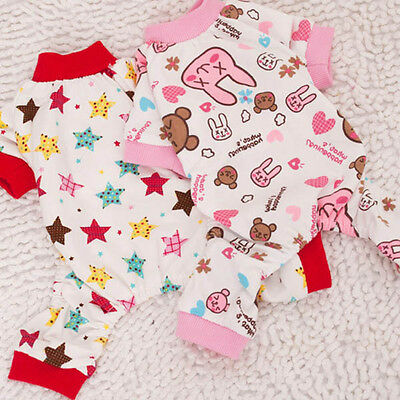 Small Dog Soft Pajamas Pet Cute Clothes Puppy Jumpsuit Jacket Pattern Apparel