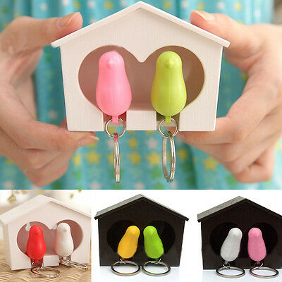 Elegant Gifts Sparrow Birdhouse Home Wall Hook For Key Ring Holder Keychain Cute