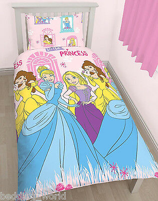 Single Bed Princess Boulevard Duvet Cover Set Belle Cinderella Rapunzel Pink