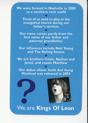 KINGS OF LEON Rock Band Group 2006 QUIZ GAME TRIVIA PHOTO CARD
