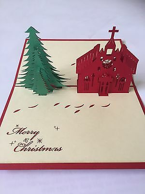 3D Pop Up - Christmas Card - Christmas Tree And Church- Craft Greeting Card