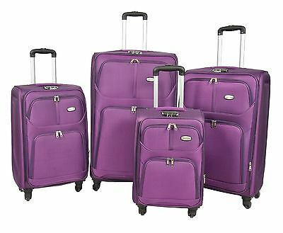 4 Wheel Spinner Travel Luggage Suitcase Expandable Soft Case LIGHTWEIGHT PURPLE