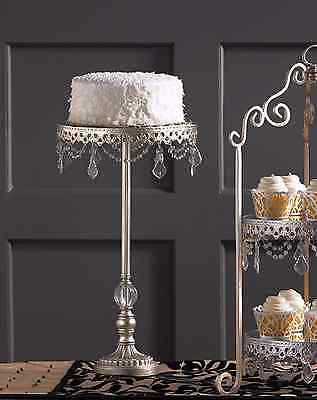 Tall Display Shabby Crystal Prism French Cupcake Wedding Decoraton Cake Stand