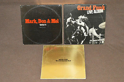 GRAND FUNK RAILROAD 3 LP RECORD ALBUM LOT COLLECTION Live/Mark Don & Mel/We're