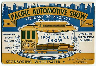 """Large Advertising Card: 1964 """"Pacific Automotive Show"""" [Cow Palace, S.F.]"""