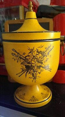 RARE Antique/ vintage Yellow 1930/40s Italian Tole Chestnut Urn/ home decor