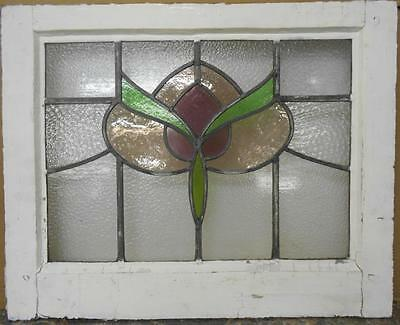 "MID SIZED OLD ENGLISH LEADED STAINED GLASS WINDOW Abstract Floral 24"" x 19.5"""