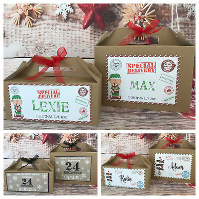 Personalised Christmas Eve Gift Box Brown / White Kraft Present Favour REINDEER