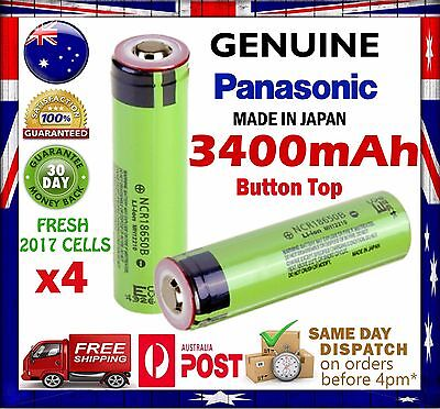 4x Panasonic NCR 18650 B 3400mAh Li-Ion Rechargeable Battery GENUINE Button Top