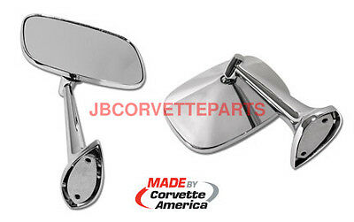 68 thru 74 Corvette Outside Mirrors With Mounting Kits NEW