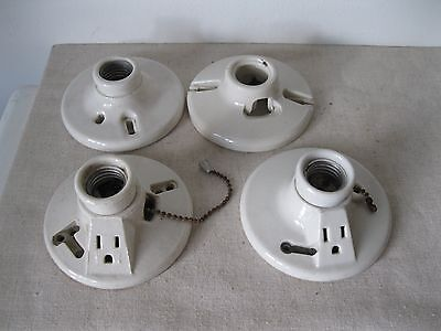 4 Vintage White Porcelain Wall/ Ceiling Light Fixtures For Parts Or Restoration