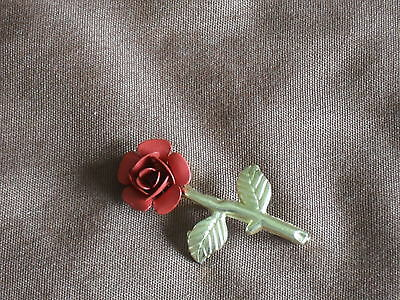 "Red Rose Gold Tone Flower Brooch (1-3/4""H  X 1""W)"