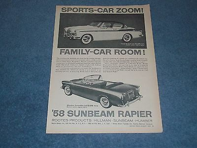 "1958 Sunbeam Rapier Coupe Convertible Vintage Ad ""Sports-Car Zoom!"""