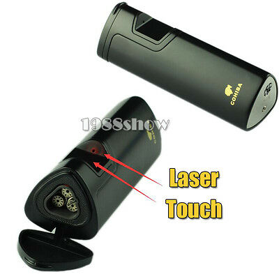 COHIBA Black Metal Laser Touch Induction 3 Torch Jet Flame Cigar Lighter & Box