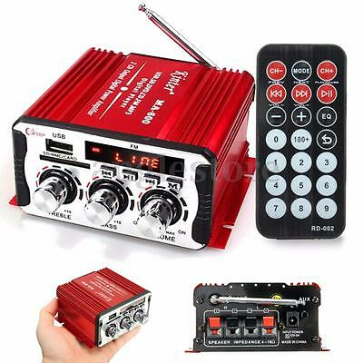 Mini 2CH Hi-Fi Stereo FM Amplificateur Booster DVD MP3 SD USB AUX Voiture Moto