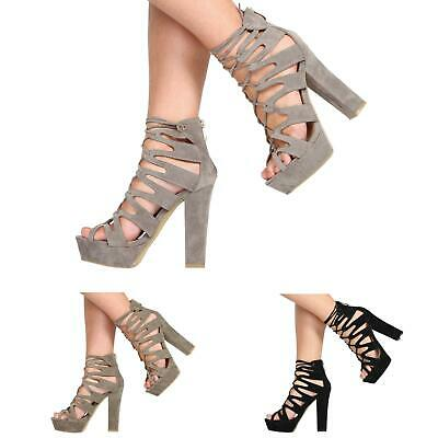 Womens High Heel Cut Out Platform Gladiator Lace Up Party Ladies Shoes Size 3-8