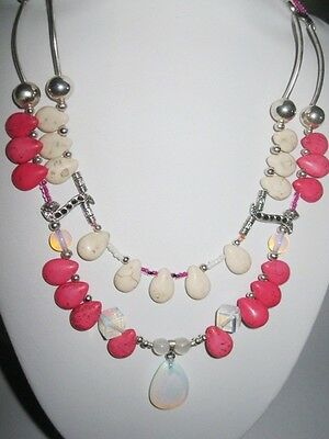 Gemstone OPALITE, MOONSTONE & dyed HOWLITe pink & white necklace  40cm