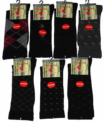 6 Prs Mens Sz 6-11 Bamboo No Seam Mixed Pattern Loose Top Dress Socks