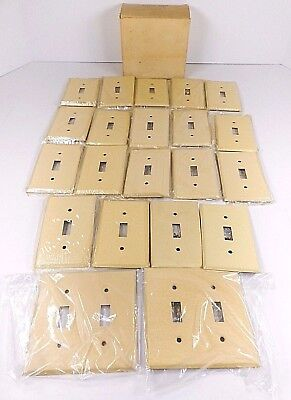 Lot of 21 Vintage Gang Toggles Deluxe Ivory Metal Switch Plate Cover NOS