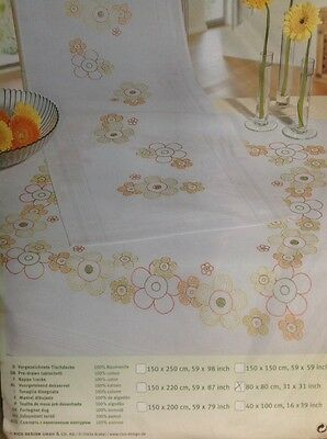 Pre Printed Tablecloth Embroidery Kit By Rico Designs Flower Design 80X80Cm