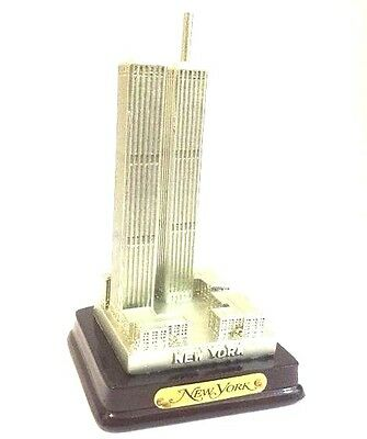"""World Trade Center Statue Figurine Twin Towers from NYC Remember 9/11 4""""Tall"""
