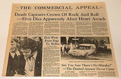DEATH of ELVIS PRESLEY NEWSPAPER MEMPHIS tn COMMERCIAL APPEAL August 17 1977