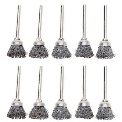10pc 3mm Rotary Steel Wire Wheel Brush Cup Tool Shank for Drill Rust Weld
