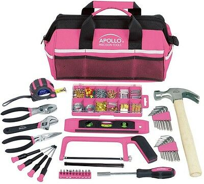 Apollo Household Tool Kit In Soft-Sided Tool Polyester Bag, Pink (201-Piece)
