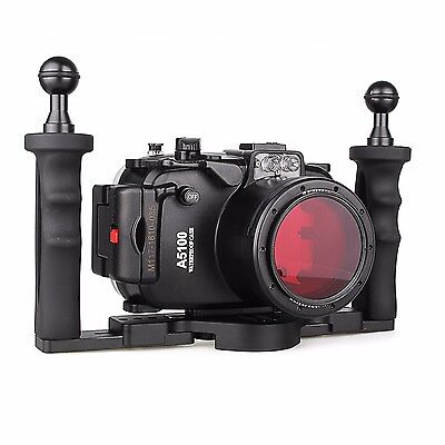 40M Waterproof Underwater Camera Housing Case for Sony A5100,  Aluminium Tray