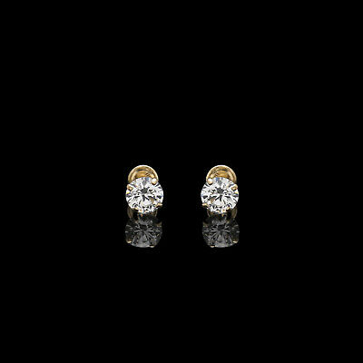 0.25ct Round Created Diamond Earrings 14K Yellow Gold Solitaire Screwback Studs